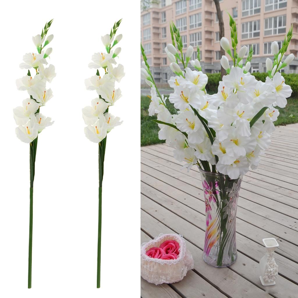 2pcs Artificial Flowers Silk Gladiolus Flowers With Stem For Flower Arrangement Wedding Home Diy Decor Artificial Dried Flowers Aliexpress