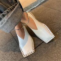 2020 Vintage Square Toe Women Flats Espadrilles Metal Circle Decor Moccasins Fashion Rivets Studded Ladies Loafers Flat Shoes