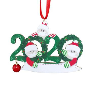 2020 Christmas Quarantine Family Toilet Paper Decor Party Decoration Gift Santa Claus With Mask Personalized Hanging Ornament image