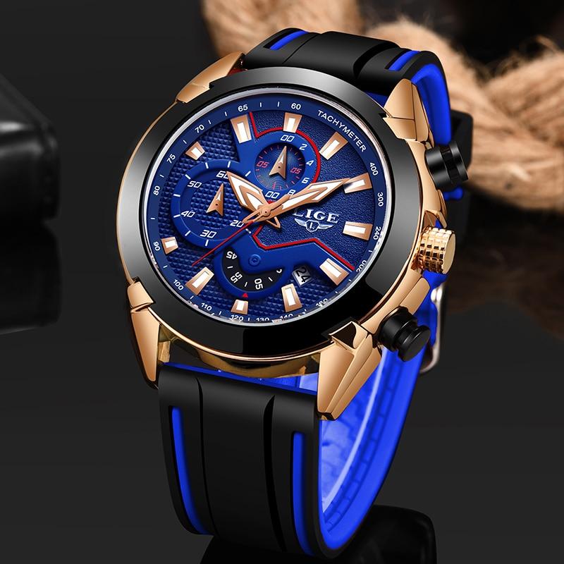 LIGE Mens Watches Silicone Strap Top Brand Luxury Waterproof Sport Chronograph Quartz Business Wristwatch Watch Men reloj hombre|Quartz Watches| |  - title=