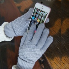 Women's Cashmere Wool Knitted Gloves Winter Warm Thick Touch Screen Gloves Solid