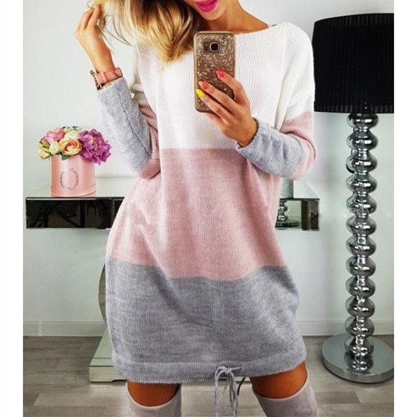 Fashion Autumn Women Knitted Sweater Long Sleeve O-Neck Loose Sweatshirt Pullover Long Top Mini Jumper Dress 2