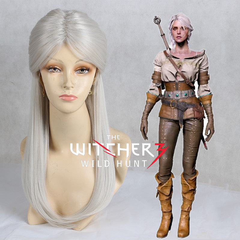 Wiedzmin Wild Hunt Women Hunter Ciri Cosplay Wig Cirilla Role Play Silver Hair Costumes