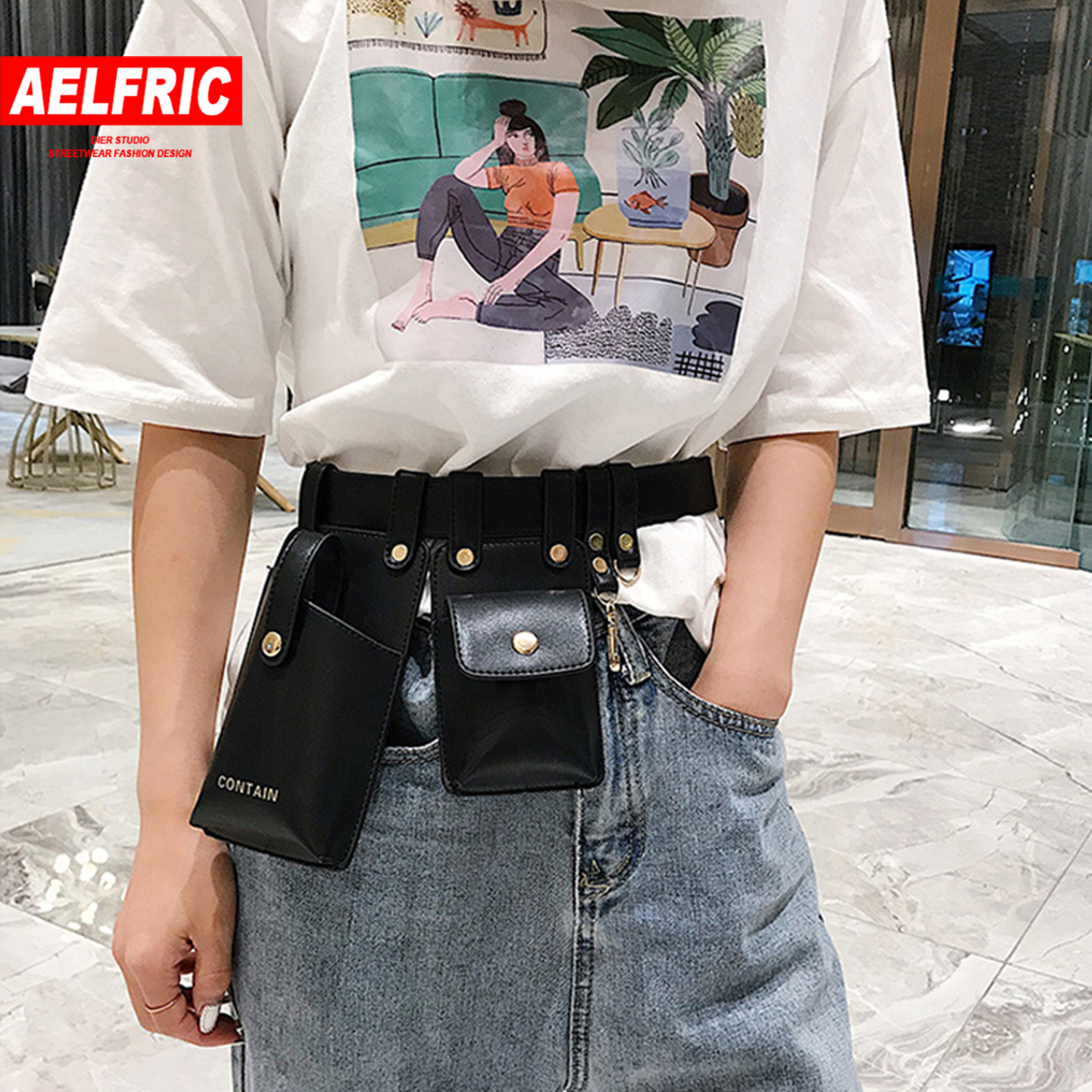 AELFRIC Hip Hop Women Luxury Design Fanny Packs Men 2019 Fashion Leather Phone Pouch Punk Waist Bag Belt Female Purse Streetwear