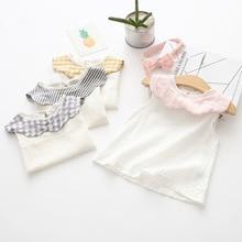 19 летняя одежда, новая стильная детская белая рубашка, рубашка для малышей, топы с гофрированным воротником для девочек, топы для младенцев