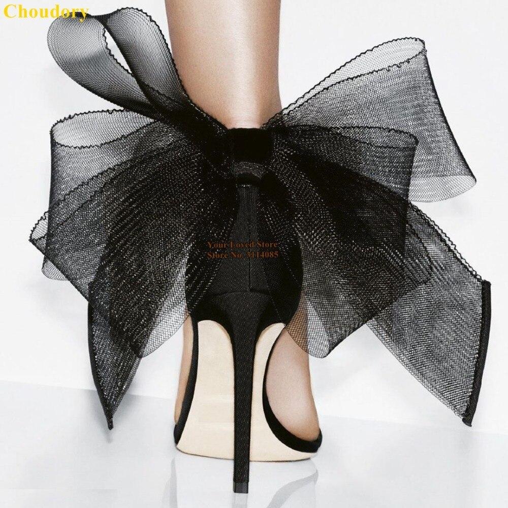 JC新款黑白网纱大蝴蝶结凉鞋 (2)