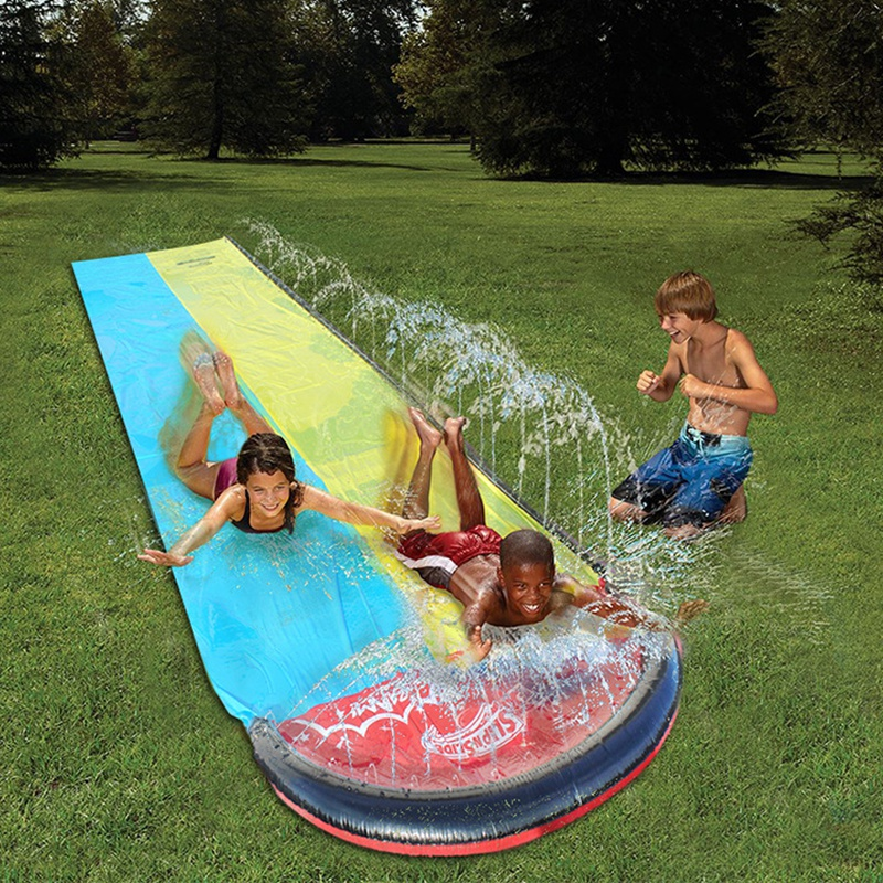 480cm Double Track Water Spray Carpet Glide Children Pool Toys Garden Grass Waterskiing Entertainment Summer Kid Gift