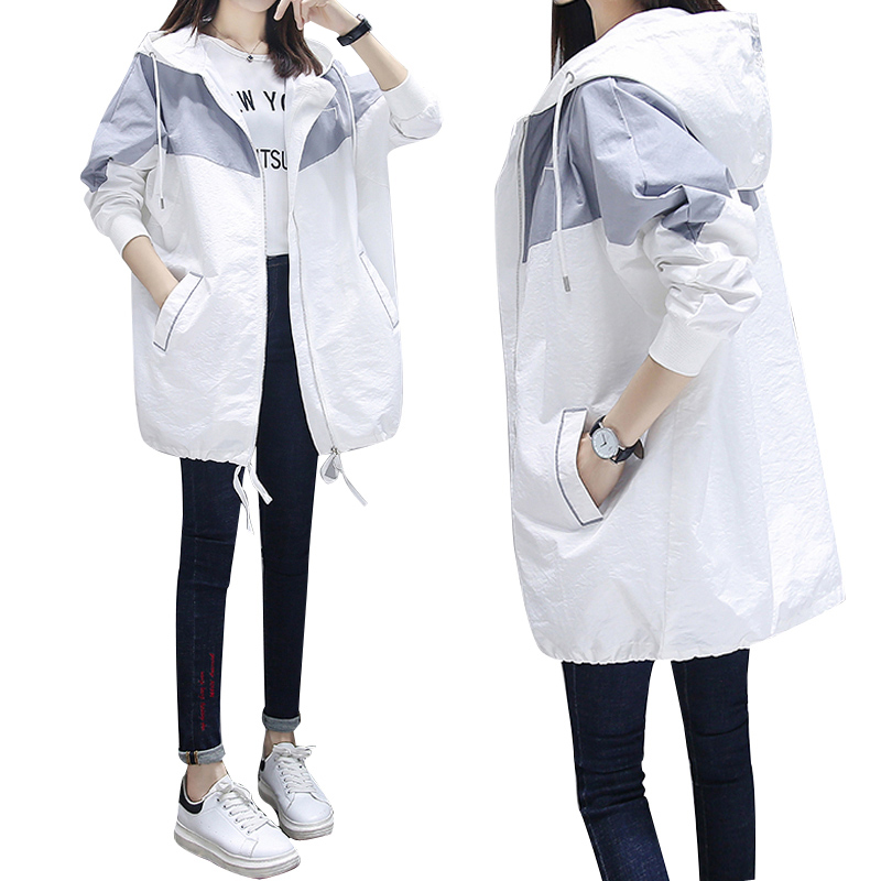 Fashion Women Patchwork Color Trench Coat 2020 New Spring Autumn Casual Hooded Medium Long Outerwear Female Windbreaker Clothing