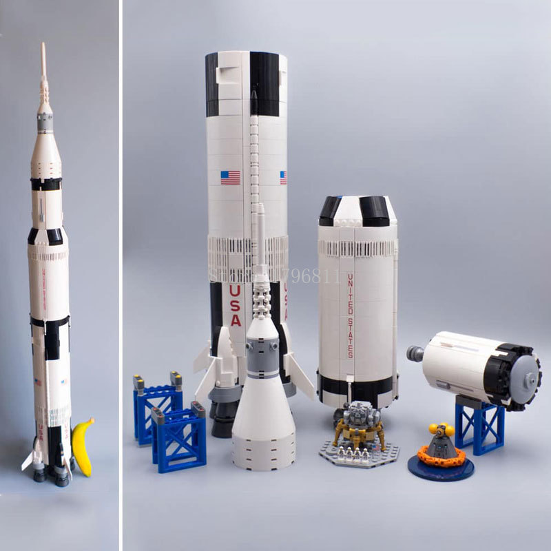 37003 1969Pcs Creator Ideas Series Saturn V Vehicle Set Building Block Bricks Toys 1969Pcs Kids Gifts Compatible With  21309