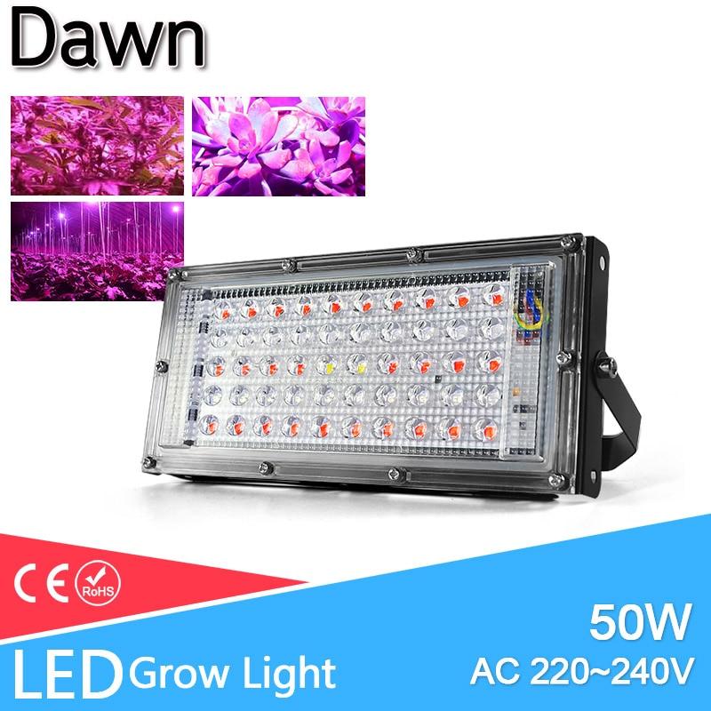 LED Grow Light Floodlight E27 LED Lamp Full Spectrum 50W AC 220V Indoor Plant Lamp IR UV For Flowering Hydroponics System