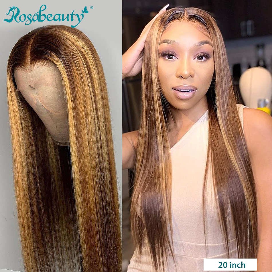 Rosabeauty Glueless 13x4 Lace Front Human Hair Wigs Preplucked Brazilian Straight Remy Frontal Wig For Black Women 26 Inch Ombre