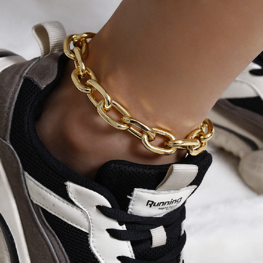 Punk Chunky Chain Anklet Cuban Link Chain Anklets for Women Sexy Thick Anklet Bracelet Leg Chain Beach Foot Jewelry