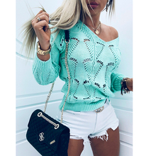 Women Hollow V-neck knitted sweater Long Sleeve Winter T-shirts
