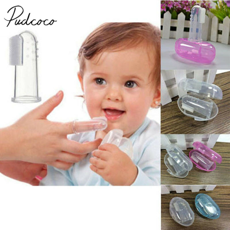 Baby Accessories Newborn Toddler Baby Convenient Durable Portable Toothbrush With Case 1PCS Set Finger Train Toothbrush
