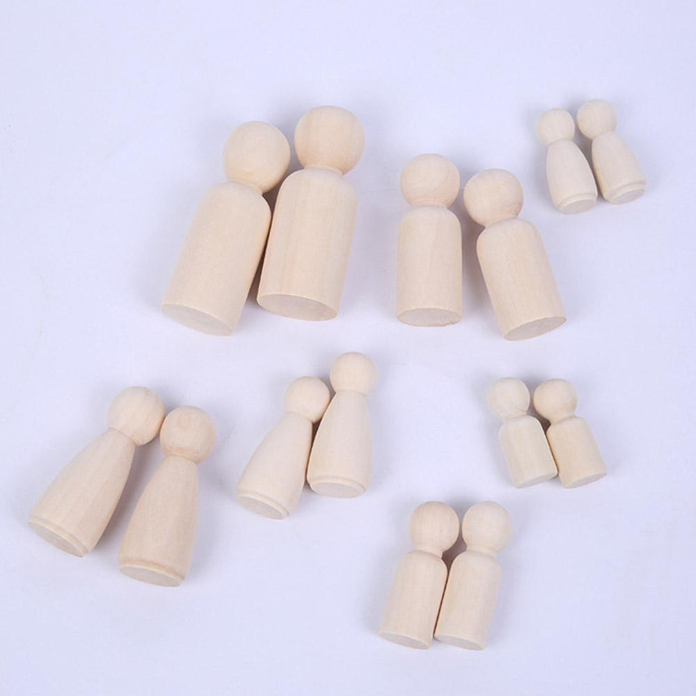 Solid Hard Wood People Same Size Natural Unfinished Ramp Preparation Paint Or Stained Wooden Family Wood Peg Dolls