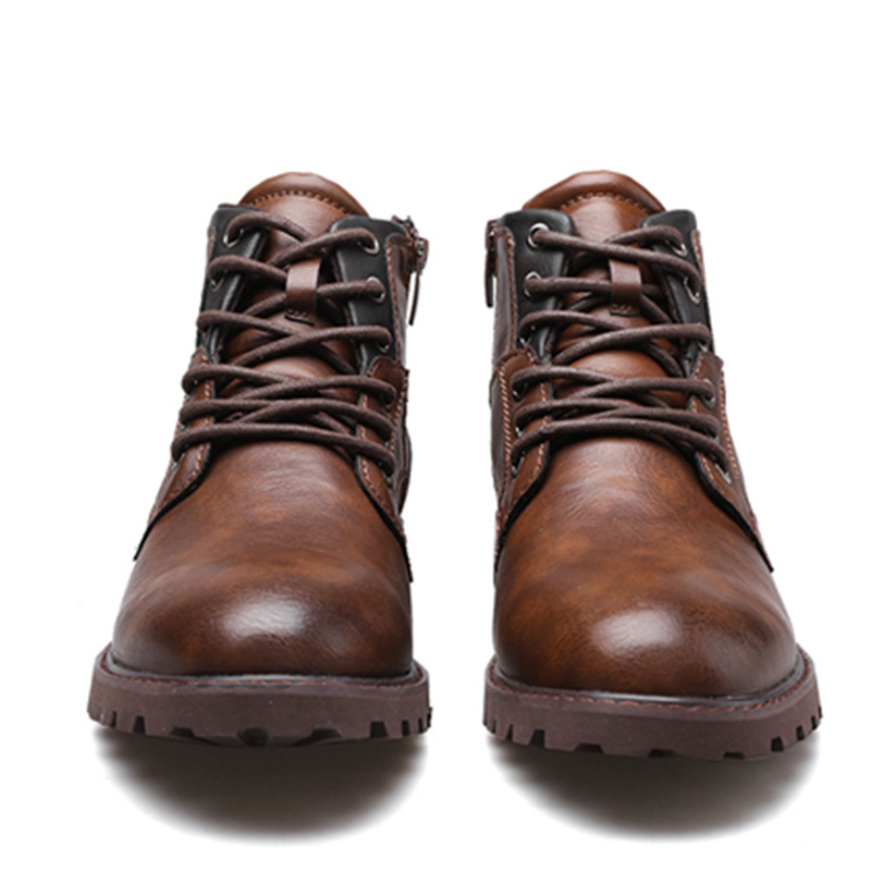 vintage casual leather boots brown