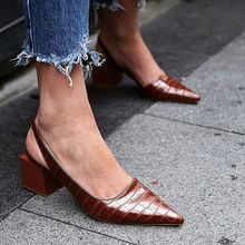 New Retro Plus Size Pointed Toe Commuter Sexy Mid heel Baotou Sandals Female Solid Color Thick Heel Pumps  Wedding Shoes Sandals