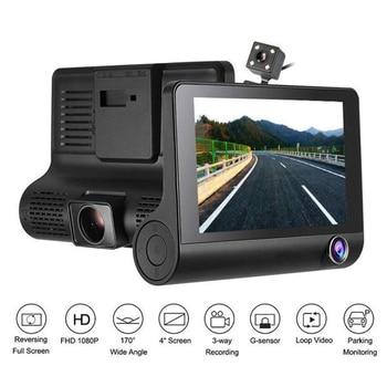2 In 1 Voice 4.0 Inch Car DVR Camera Recorder R-Adar Detector English & Russian FHD 1080P Dash Cam 3 Ways Lens
