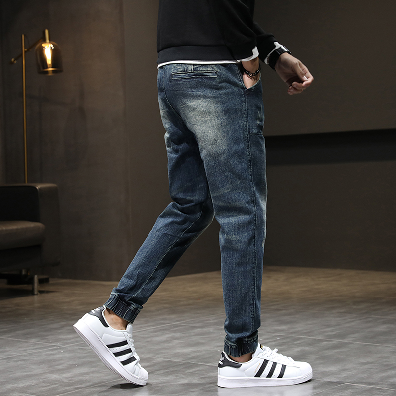 2020 Autumn New Jeans Men Jogger Jeans Pants Elastic Waist Drawstring Harem Pants Retro Blue Casual