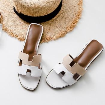 Summer woman shoes flip flops flat slippers women Genuine Leather luxury shoes women designers Colorblock outdoor Open toe