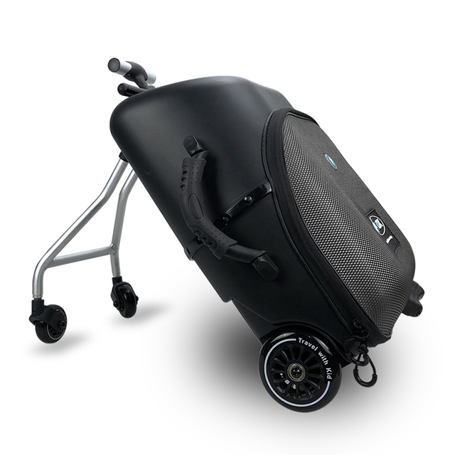 New design lazy baby sit on scooter luggage kids carry on travel suitcase bag boarding skateboard creative trolley case