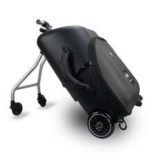 Nouveau design paresseux bébé assis sur scooter bagages enfants portent sur valise de voyage sac planche à roulettes planche à roulettes créative boîtier de chariot