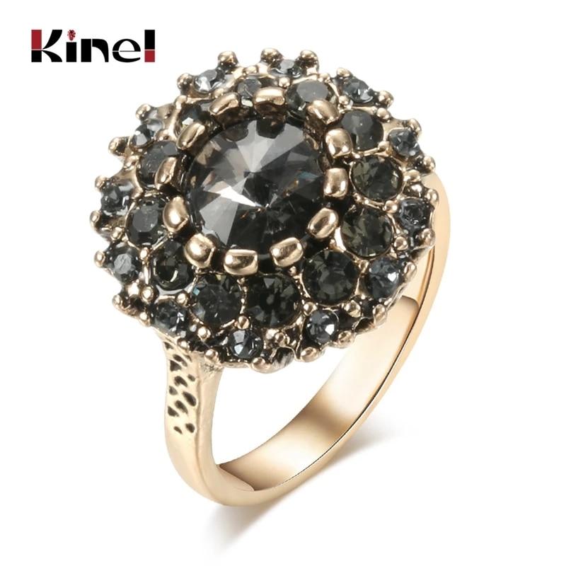 Kinel Luxury Vintage Ring Antique Gold Boho Gray Crystal Wedding Rings For Women Wedding Jewelery Bague Femme 2020 New