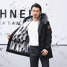 2019 Winter New Style To Overcome The Male Rabbit Fur Liner Removable Scorpion Collar Coat Long