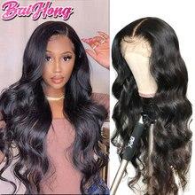 Волнистый парик на сетке спереди для женщин, бразильский парик без повреждения кутикулы, 30 дюймов, длинные человеческие волосы с детскими в...