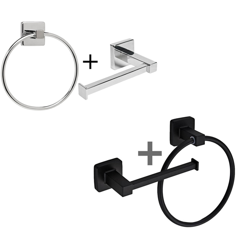 Chrome Silver Square Bathroom Toilet Roll Holder & Towel Ring Set Stainless Steel Black Hanging Holder With Screws Fittings Kit