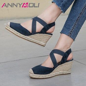 ANNYMOLI Espadrille Wedge Heel Pumps Slingbacks High Heel Women Shoes Kid Suede Round Toe Footwear Lady Summer Shoes Female Blue