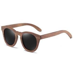 Image 4 - GM שחור אגוז עץ מסגרת משקפי שמש עם ציפוי מראה עדשת במבוק משקפי שמש UV400 הגנה עם תיבת עץ