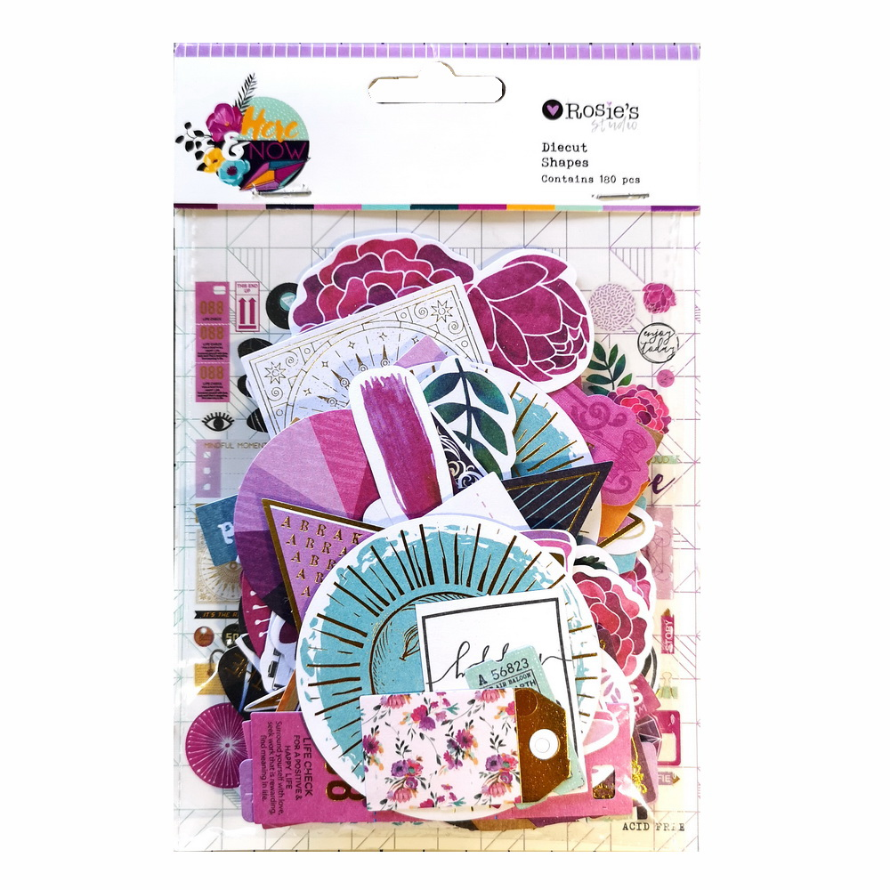 CRZCrafter 180pcs Printed Paper Diecut Shapes Foil Design Scrapbooking Cardmaking Journal Embellishments