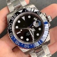 40mm GMT Men Automatic Mechanical Watch  Black Sterile Dial Sapphire Crystal Black Blue Ceramic Bezel Waterproof  Luminous A11|Mechanical Watches| |  -