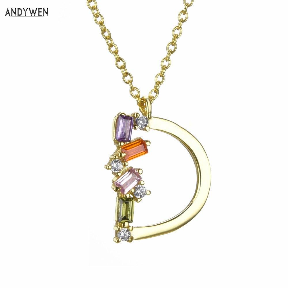 ANDYWEN 925 Sterling Silver Gold Mini D Letter Initial Pendant Letter Neckalce Long Chain Luxury CZ  Zircon Women Jewelry