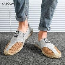 Мужская обувь для вождения; повседневные тканевые мужские туфли из соломки; Лоферы без застежки; обувь для путешествий; мужские роскошные брендовые эспадрильи; большие размеры 39-45