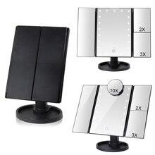 Туалетный столик макияж зеркало с 22 светодиодный карманный гибкий сенсорный экран увеличительное 1X/2X/3X/10X косметика, Подарочная регулируемые зеркала