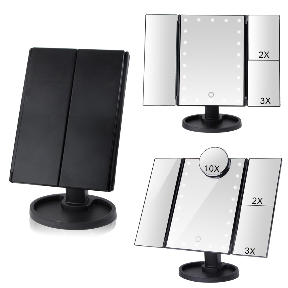 Vanity Makeup Mirror With 22 LED Light Pocket Flexible Touch Screen Magnifying 1X/2X/3X/10X Cosmetic Gift Adjustable Mirrors