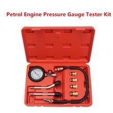 Benzinemotor Manometer Tester Kit Set Compressie Lekkage Diagnostic Compressometer Tool Voor Auto Auto Truck Met Case