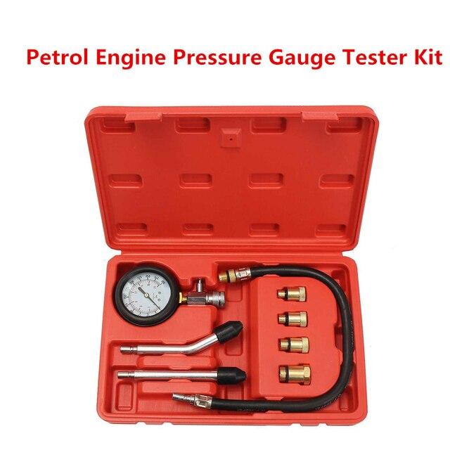 בנזין מנוע לחץ מד Tester ערכת סט דחיסת דליפת אבחון Compressometer כלי רכב אוטומטי משאית עם מקרה