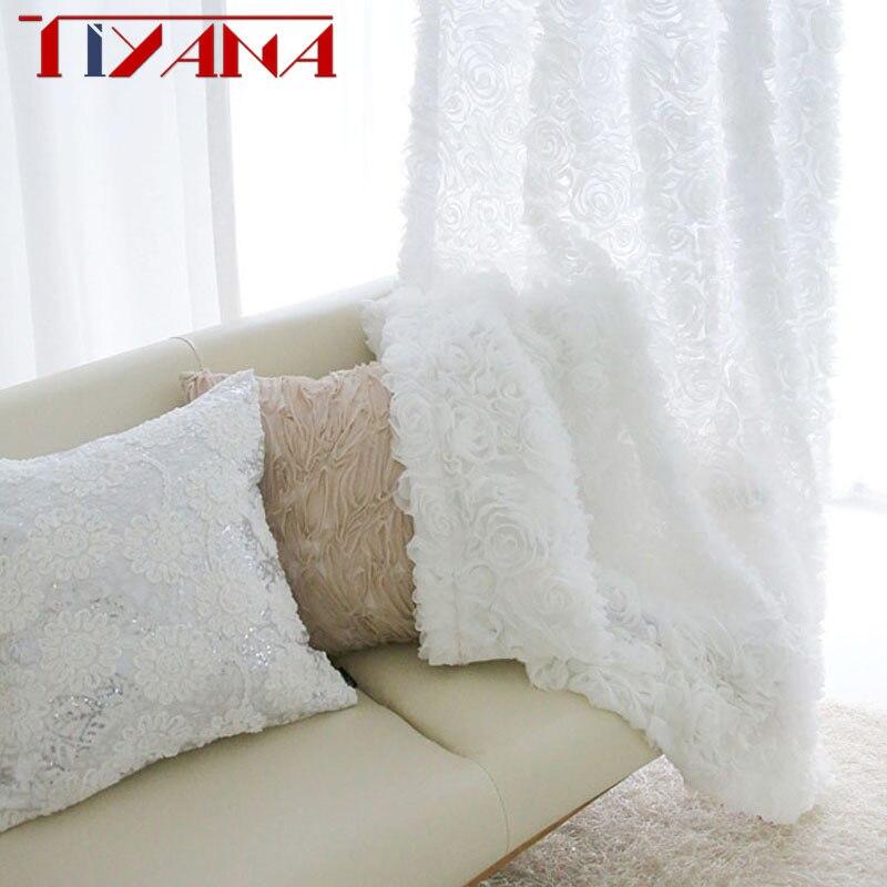 1 Panel Modern Korean 3D Rose Flower Design Drapes White Tulle Curtain For Living Room Kitchen Short Curtain Wedding Decor 10