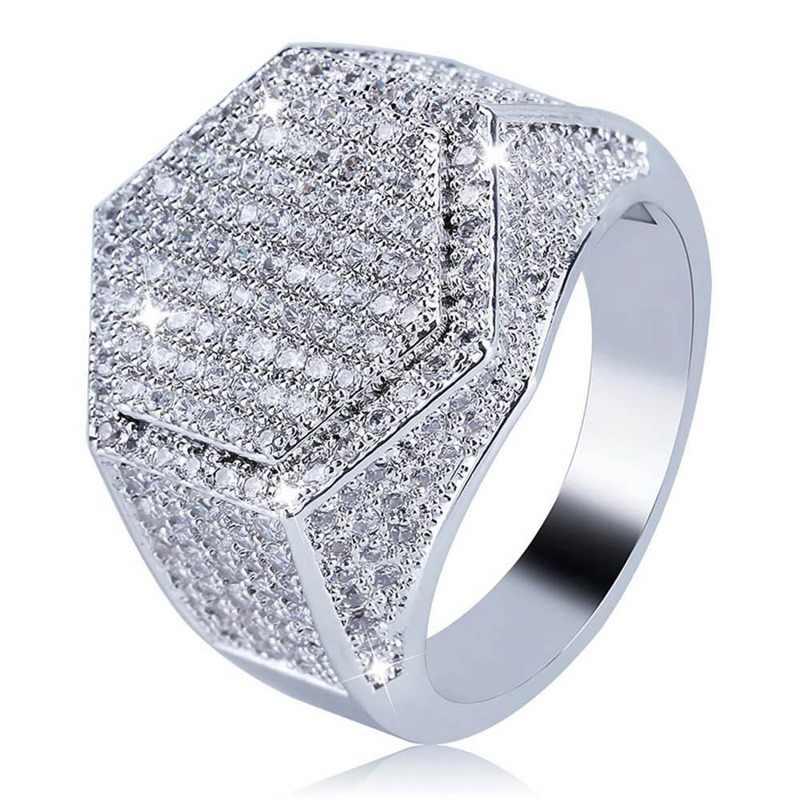היפ הופ אופנה גברים טבעת נחושת זהב כסף צבע אייס Out בלינג פייב מעוקב Zirconia גיאומטריה טבעות גברים יום נישואים קסמי מתנה