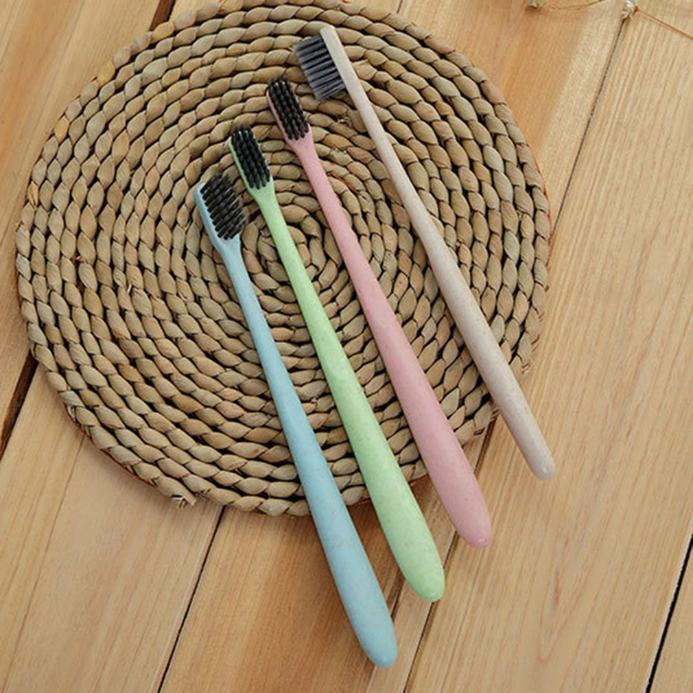K-866 Wheat Straw Toothbrush Tooth Cleaning Brush Soft Slim Bamboo Charcoal Bristle Brush Adult Kids Teeth Brush Drop Shipping