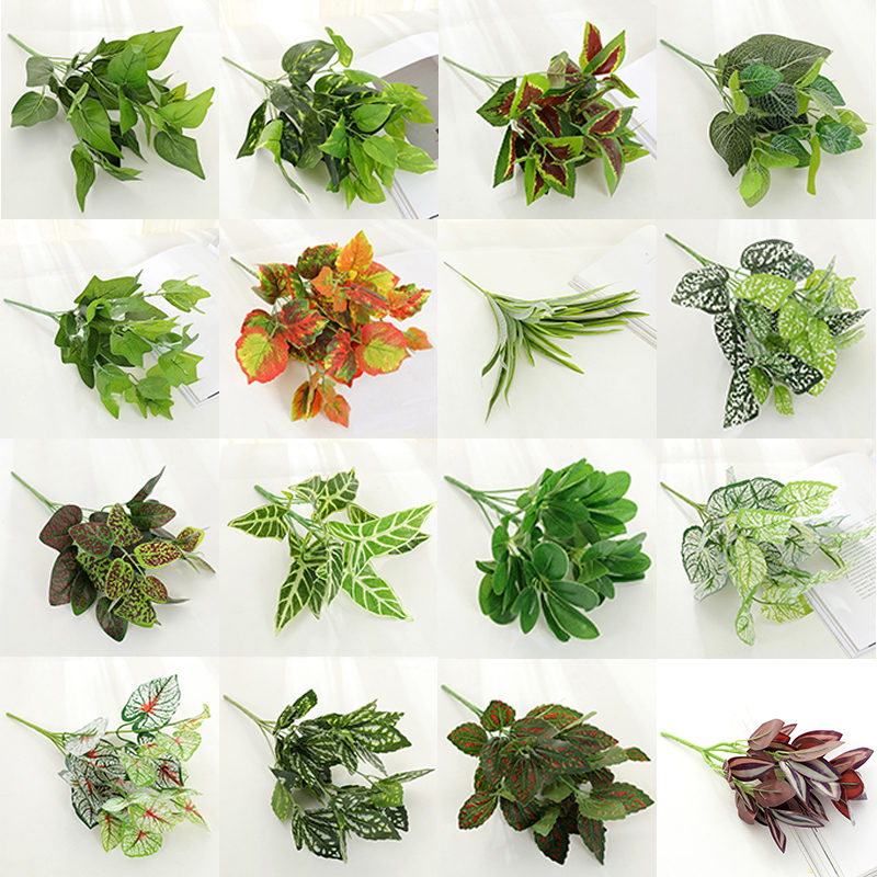 Artificial Plants Fake Green Leaves Garden Home Decor Simulated Plant Wall Accessories Wedding Decoration Party Supplies 52809 Leather Bag