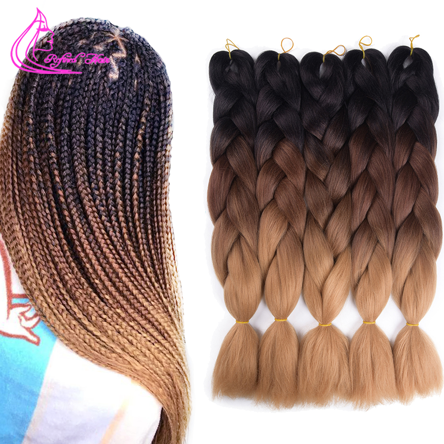 Refined Hair 24Inch Jumbo Braid Ombre Braiding Hair Extensions Brown Synthetic Crochet Braids For Men Women