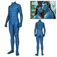Film Avatar 2 Jake Sully Neytiri Costume Cosplay Vestito di Zentai Spandex Tuta Tute E Tute Da Palestra Costume di Halloween Per Adulti Donna Uomo Bambini