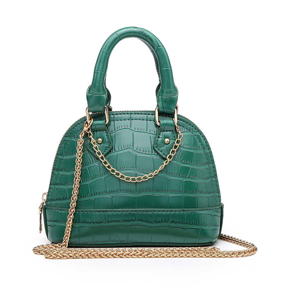 Classic Green Crocodile Leather Shell Bags Ins Hot Sales Mini Shoulder Handbag Fashion Lady Tote Purse image