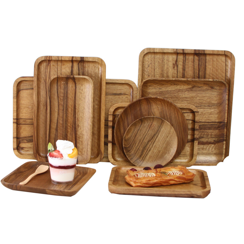 Japanese Pallet solid wood cutlery set Wooddinner set coffee cake shop wood cutlery handmade vintage tray dishes and plates sets