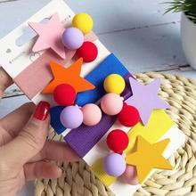 Personality Color Star Hair Rubber Band Women Simple Hair Ring Hair Accessories Korean Hair Ring Small Fresh Girl Hair Rope wild hair band female striped wild color large intestine ring elastic band hair ring hair rope hair accessories coconut tree