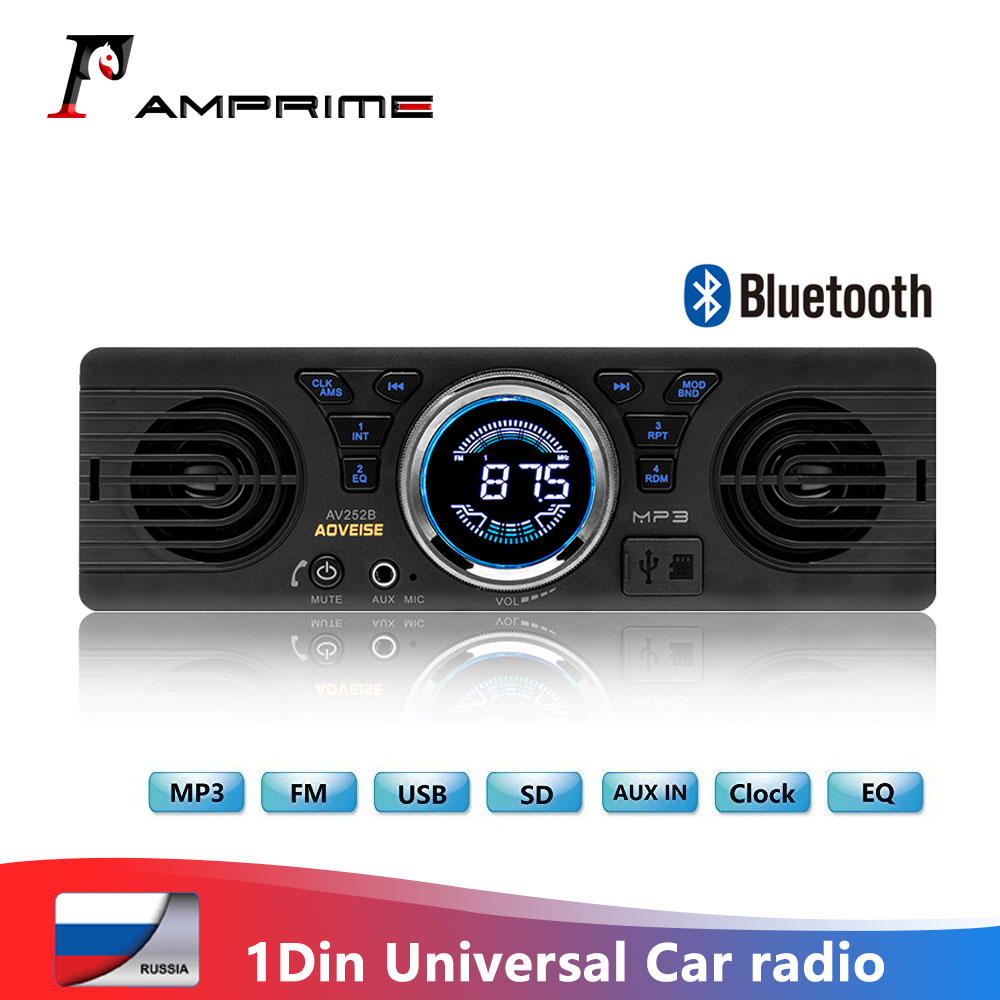AMPrime 1din Car radio Universal 1 DIN 12V FM MP3 Bluetooth Autoradio Hands-free Call Auto with loud Speaker In-dash Car Stereo image